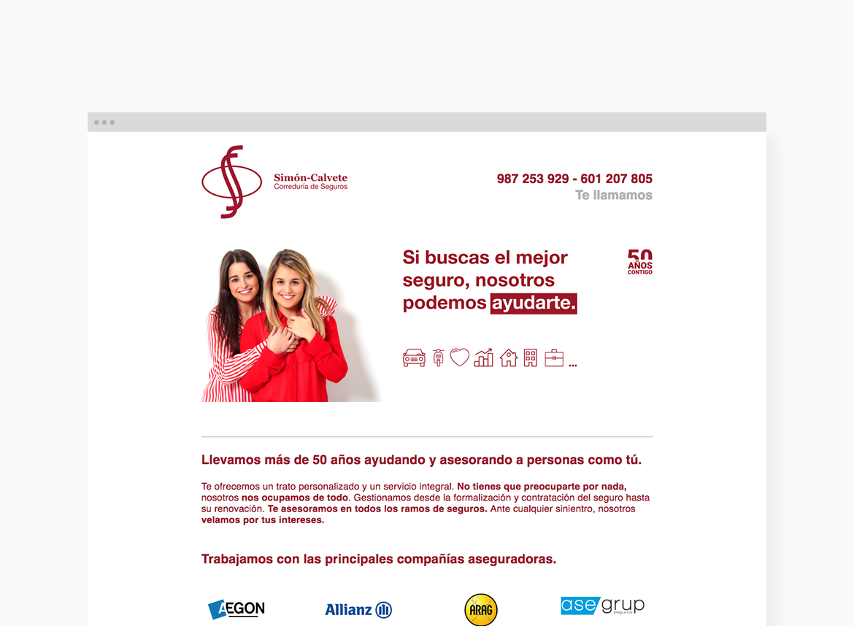 Página web rebrading Correduría de Seguros Simón-Calvete